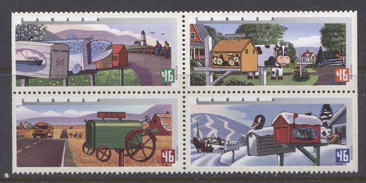 Canada #1852a $1.84 2000 Rural Mailboxes Block of 4 NF/NF Paper - VF-79 NH | eBay