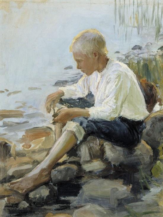 'Boy on the Shore', 1891 -  Pekka Halonen