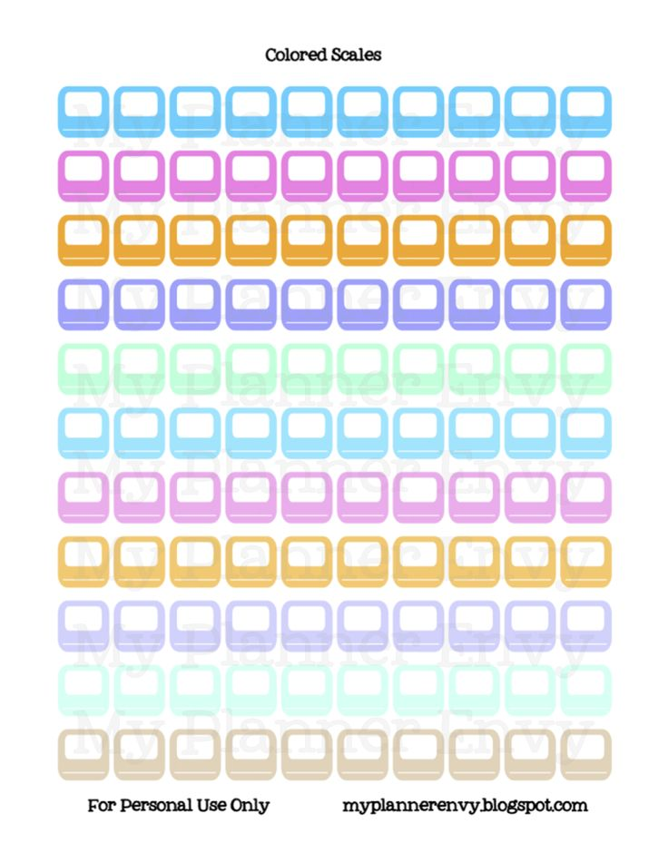 Colored Bathroom Scale - Free Planner Printable Stickers - My Planner Envy