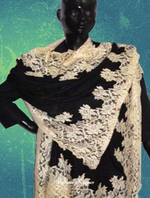 Black Pashmina With Beige French Lace