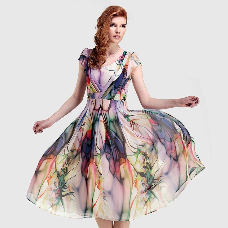 2015 gaun kasual, Musim panas gaya maxi vintage yang, Wanita Print dress sifon, Perempuan femininos de festa vestido longo ditambah ukuran M ~ XXXL(China (Mainland))
