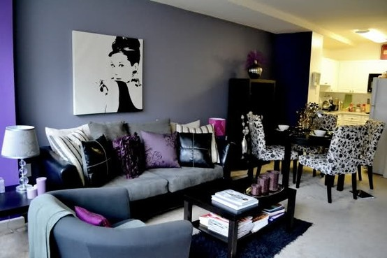 My three favorites in a room purple black and audrey for Black and purple living room ideas