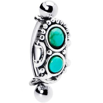 Silver 925 Top Down Southwest Green Turquoise Eyebrow Ring Red Gem Dragonfly Dangle Eyebrow Ring $11.99