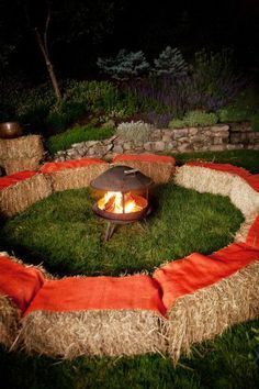 Haystacks with Blankets around a fire pit. Great for a Campfire party! @Aftcap  Evening/bonfire  grad party?