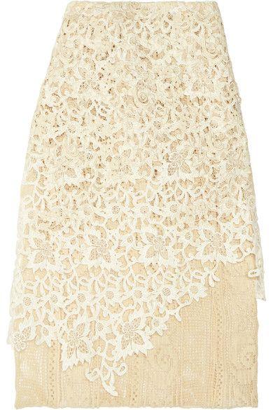 Balenciaga - Layered Guipure Lace Skirt - Ivory - FR40