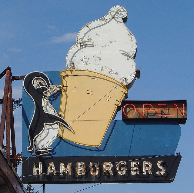 ~ Retro Neon Sign. Cascade Locks, OR.  This is called the East Winds Drive in . It's a great old fashion Burger place. We go there all the time, especially in the summer & they also serve The BEST soft serve Vanilla/Chocolate Swirl ice cream in waffle cones !!