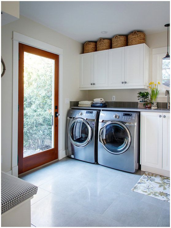 Ikea Pop Up Tent Laundry Room Features Baskets Atop White Cabinets