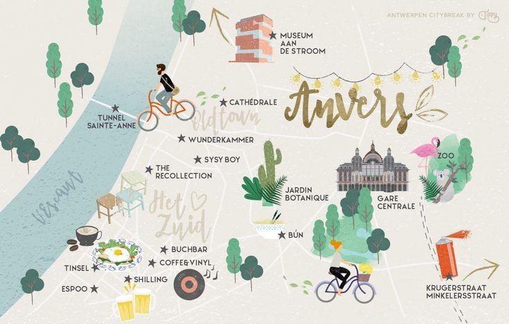 La carte illustrée des bonnes adresses d'Anvers / Tippy.fr