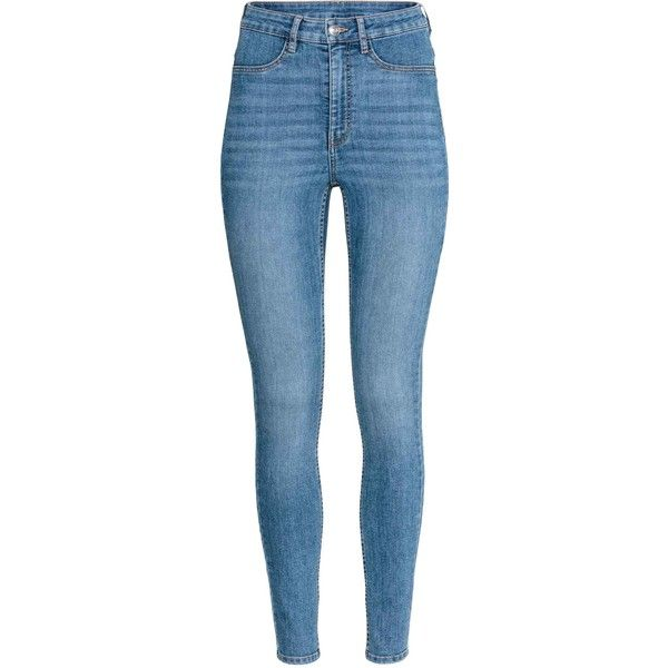 Super Skinny High Jeans (€20) via Polyvore featuring jeans, pants, skinny fit denim jeans, blue denim jeans, blue jeans, fake jeans en faux-leather jeans
