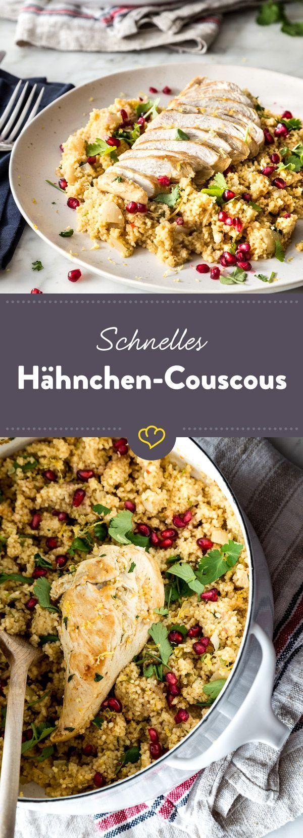 Fix das Hähnchen angebraten, Brühe drüber den, Couscous ziehen lassen. Alles in allem bist du in maximal 35 Minuten fertig.