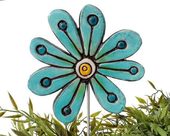 abstract jade garden art - ceramic flower lawn ornament - frost resistant garden decoration