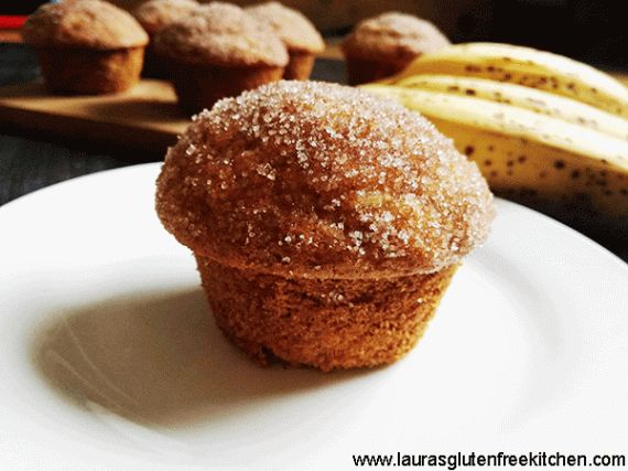 These Gluten Free Cinnamon banana bread muffins taste like banana bread in muffin form! They are perfectly light and moist, loaded with banana flavour, and bake up beautifully each time. Topped in butter and a sweet cinnamon sugar for the ultimate snack.