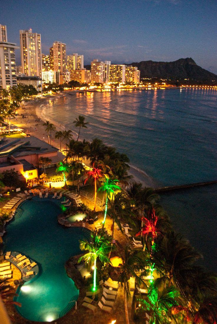 Christmas Lights in Waikiki, Hawaii as viewed from the Sheraton Waikiki