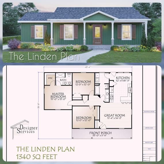 The Linden Plan Is A Cozy Cabin Style Design With Three Bedrooms And 2 Baths It Has 1340 Heate House Plans Farmhouse Cottage House Plans Craftsman House Plans
