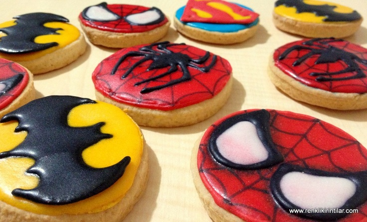 Süper Kahraman Kurabiyeleri - spiderman, batman & superman cookies