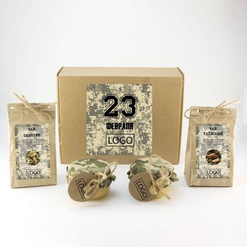 Подарочный набор к 23 февраля из 2х сортов травяного чая по 50 гр, 2х видов меда по 150 гр. Для комплектации подарка используем 2 сорта травяного чая, полезных для иммунитета: - Сибиряк (Иван-чай, клюква, малина, почки сосны, смородина) и - Таёжный (Иван-чай, почки сосны, рябина, душица, брусника, смородина) и 2 вида меда: Луговой и Полевой