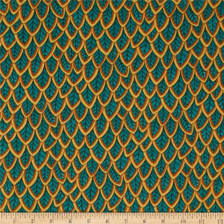 Moda Forest Fancy Fanciful Feathers Autumn Teal from @fabricdotcom  Designed by Deb Strain for Moda, this cotton print is perfect for quilting, apparel and home decor accents. Colors include orange, yellow, shades of brown, and shades of teal.
