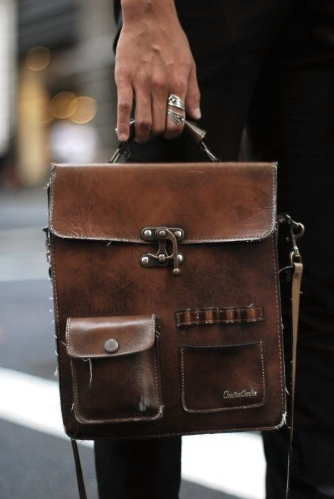 Military-inspired, vertical-emphasis leather satchel