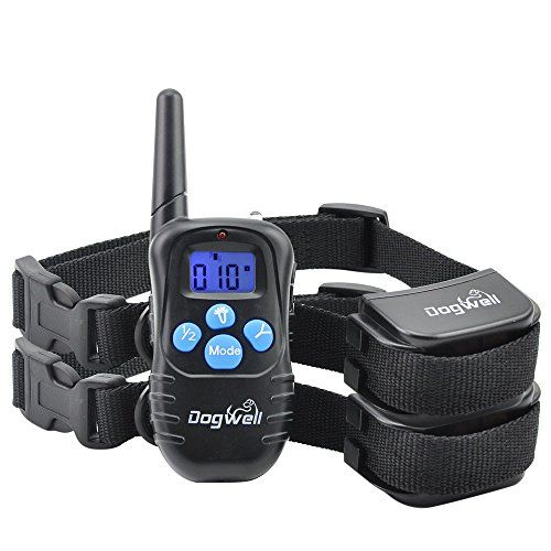 Dogwell DWRB-2 984 Ft Shock Collar for Dogs with Remote, Rechargeable and Rainproof Dog Electronic Training Collar for 2 Dogs with Blue Backlight Screen, 100 Level Vibration and Shock