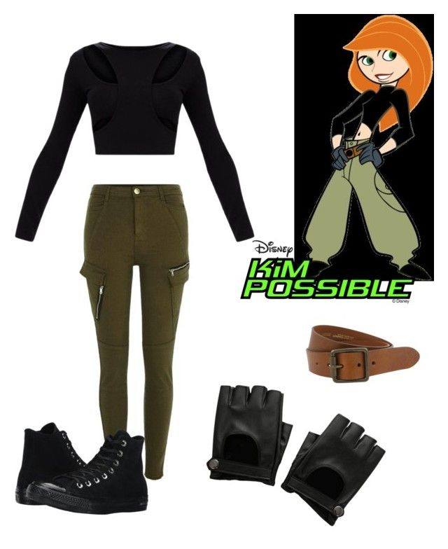 """""""DIY Kim Possible Costume"""" by jennifer-farley-1 ❤ liked on Polyvore featuring River Island, Converse, Hot Topic and The British Belt Company"""