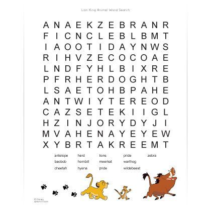 Lion King African Animals Word Search School Lion King