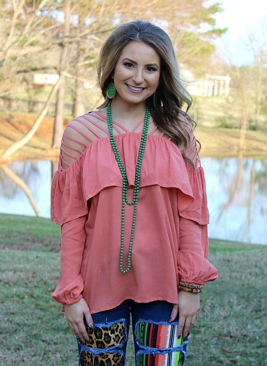 More Than A Glimmer Strappy Blouse in Coral – Giddy Up Glamour Boutique
