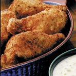 Ooh - definitely need to try this!!!    Instant mashed potato flakes are the secret ingredient that makes this fried chicken golden, crisp and delicious.