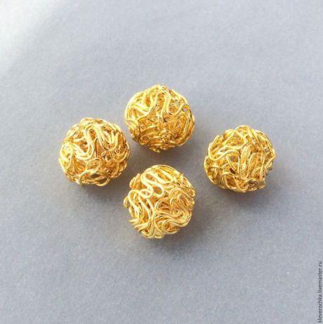 Купить _Бусины 12 мм проволочные цвет золото шар для украшений - бусины для украшений