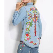 Mujeres de la manera Impreso Bordado Denim Blusa Camisa de Solapa de Manga Larga…