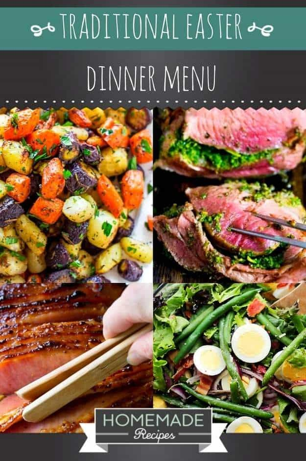Traditional Easter Dinner Menu | https://homemaderecipes.com/traditional-easter-dinner-menu-recipes/