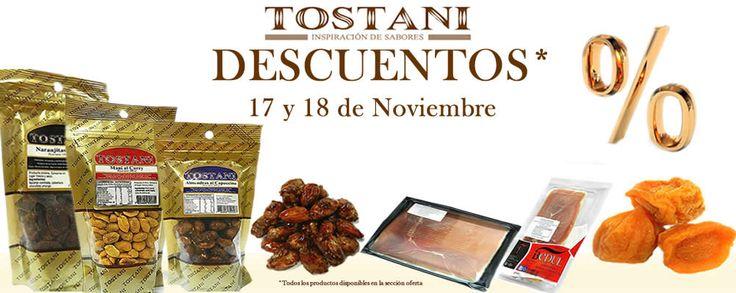 Nos volvimos locos...tendremos más productos en oferta. Recuerda, este lunes y martes 17 y 18 de Noviembre, todos los frutos secos en envase doypack y a granel TOSTANI con increíbles descuentos, además de los jamones serrano Ibedul. No te olvides de visitar nuestra página www.tostani.cl  #tostani #frutossecos #descuento #cybermonday #almendra #mani #pistacho #nuez #distribuidoraarenillas #elmejordistribuidor #jamonserrano