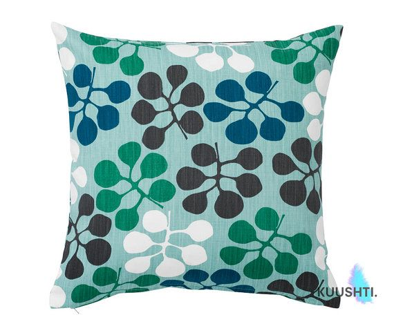 Petrol Blue Scandinavian Pillow Blue Cushion Floral