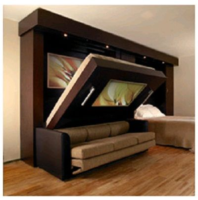 Murphy bed/sofa combination…want this!…would be really cool if you could add in a table, too, like a 3-in-1. Company over, so sofa in the family room, then put dinner out and it's a dining room, then company goes away and it's a bedroom