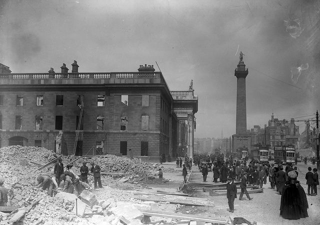 The shell of the General Post Office on Sackville Street (later O'Connell Street), Dublin in the aftermath of the 1916 Rising.