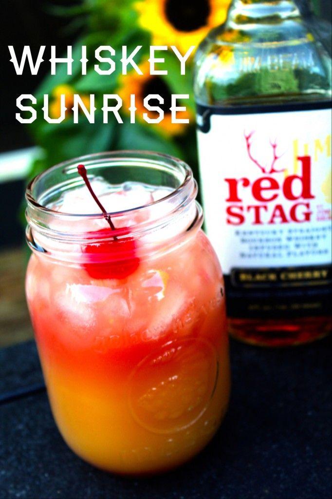 Whiskey Sunrise (1.5 oz Red Stag by Jim Beam Black Cherry Orange Juice Splash of Cranberry juice)