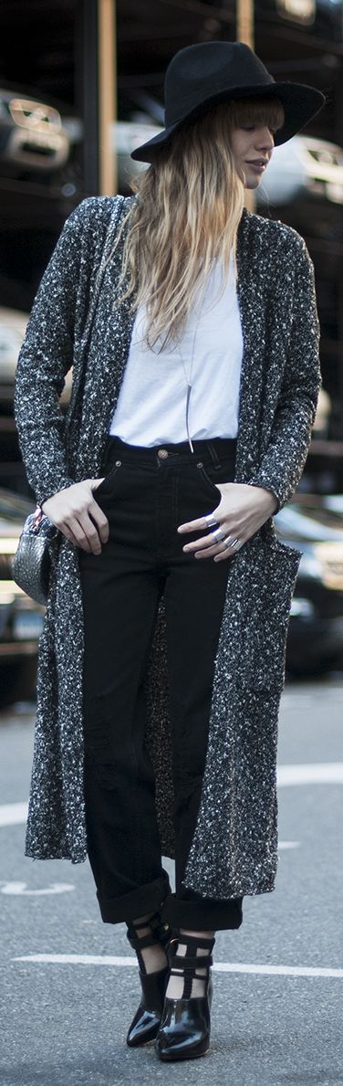F/W Long marled cardigan, black jeans, white button down and strappy boots
