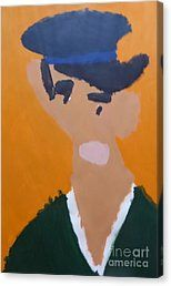Canvas Print featuring the painting Young Man With A Hat 2014 - After Vincent Van Gogh by Patrick Francis