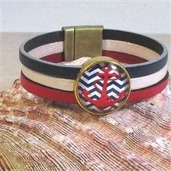 Cute American Pride red white & blue leather bracelet with a unique red white & blue Anchor