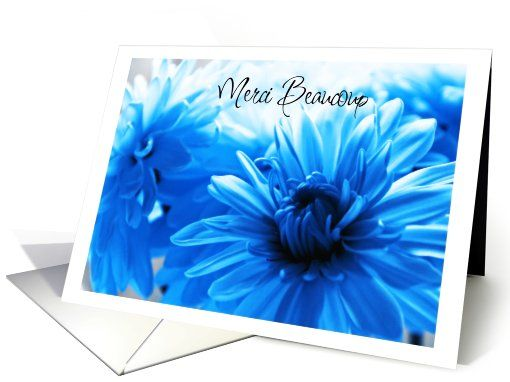 merci beaucoup, blue chrysanthemums card