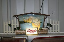 VERY RARE 1960'S HAMMS BEER SIGN LIGHTED COMPLETE FLOATING GLASSES RIPPLER STYL