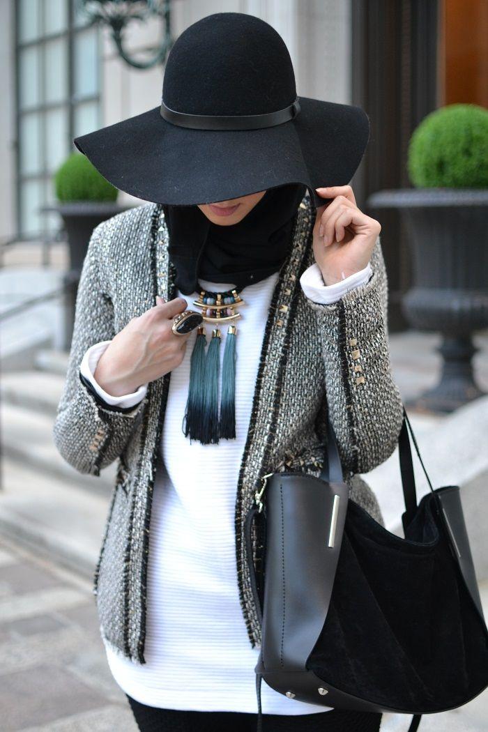 oversized hat, hijabi fashion, modest fashion, tweed blazer, hani hulu