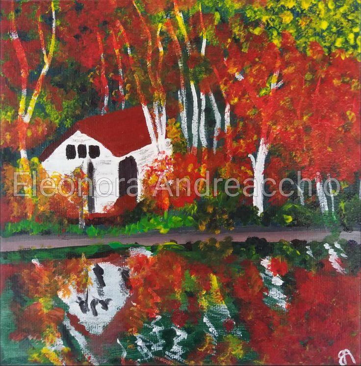 Dipinto originale su tela Acrilici ed acquerelli Decorazione parete Quadro arredamento Paesaggio autunnale bosco e casa con lago