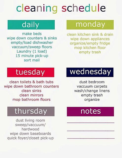 Daily Cleaning Schedule Checklist - C # ile Web\u0027 e Hükmedin!