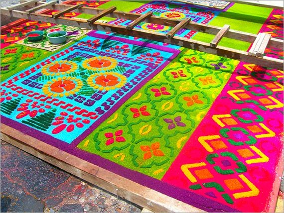 Alfrombas - made from colorful sawdust during Holy Week in  Benque Viejo del Carmen