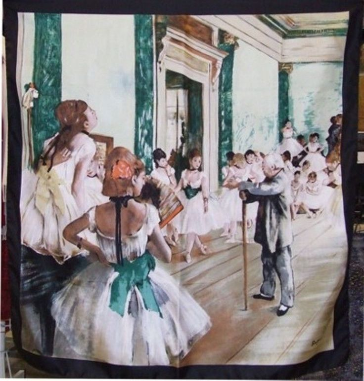 "Silk Scarf with motif ""The Dance Class"" by Edgar Degas silk screened by hand #Rosberg #Scarf"
