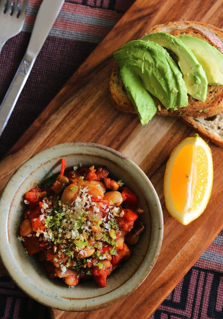 Oven roasted ratatouille beans with toasted breadcrumbs and basil oil - little vegan bear