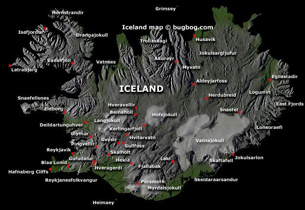 Iceland  Map  with tourist destinations linking to Iceland Travel Guide.