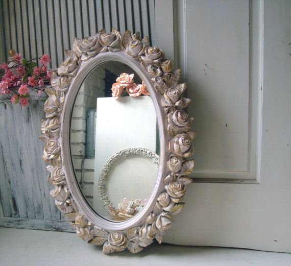 Pink Vintage Rose Mirror, Oval HOMCO Floral Ornate Mirror