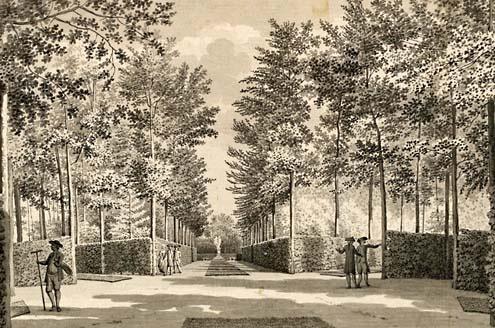 Tuinlieden aan het werk in de tuin van het slot Ter Hooge, 1785. Tekening Jan Arends (ZA/KZGW/ZI)