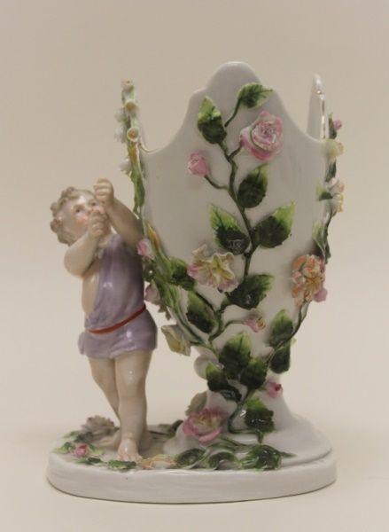 19c Dresden Porcelain Flower Frog Vase W Cherubs Porcelaine